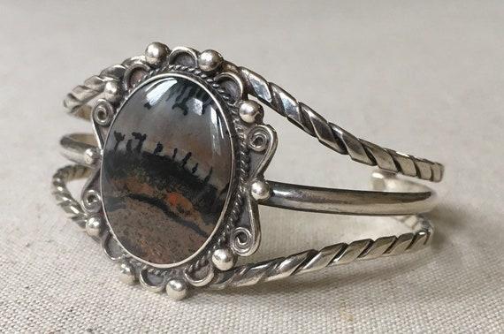 Navajo Petrified Wood Cuff Bracelet Vintage Native American Twisted Rope Sterling Silver Split Shank Band