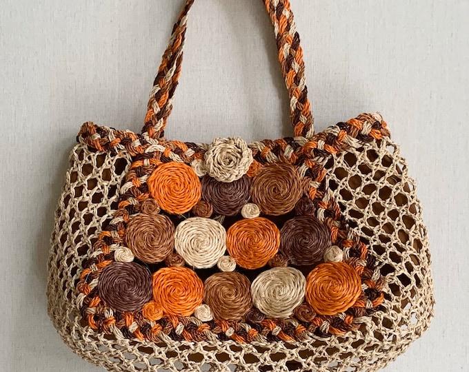 Open Weave Straw Bag Tote Purse Vintage 70s Circles Top Handles Natural Beige Orange Boho Summer Market Bag
