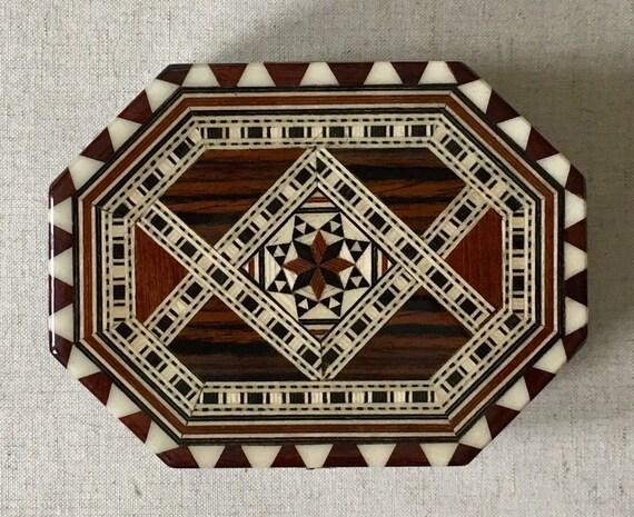 Wood MOP Inlay Box Jewelry Trinket Vintage Wooden Handmade in Spain Black Brown White Mother of Pearl