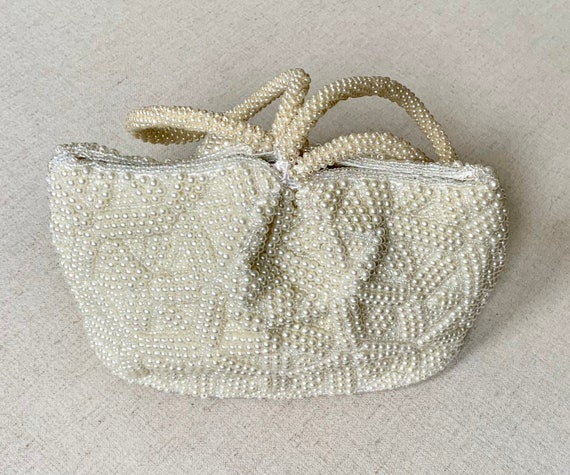 Handmade Ivory Pearl Purse Wristlet Clutch Vintage La Regale Ivory Cream White Pearl Beads Beaded Wedding Bridal