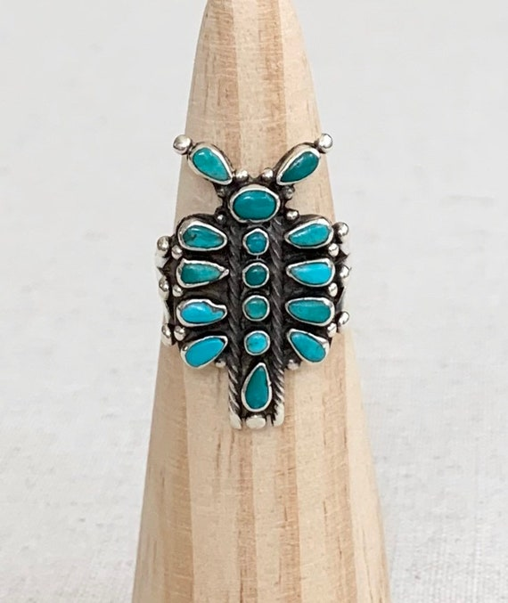 Butterfly Needlepoint Turquoise Ring Vintage Native American Handmade Sterling Silver Petit Point Set Stones Women's Jewelry Ring Size 8