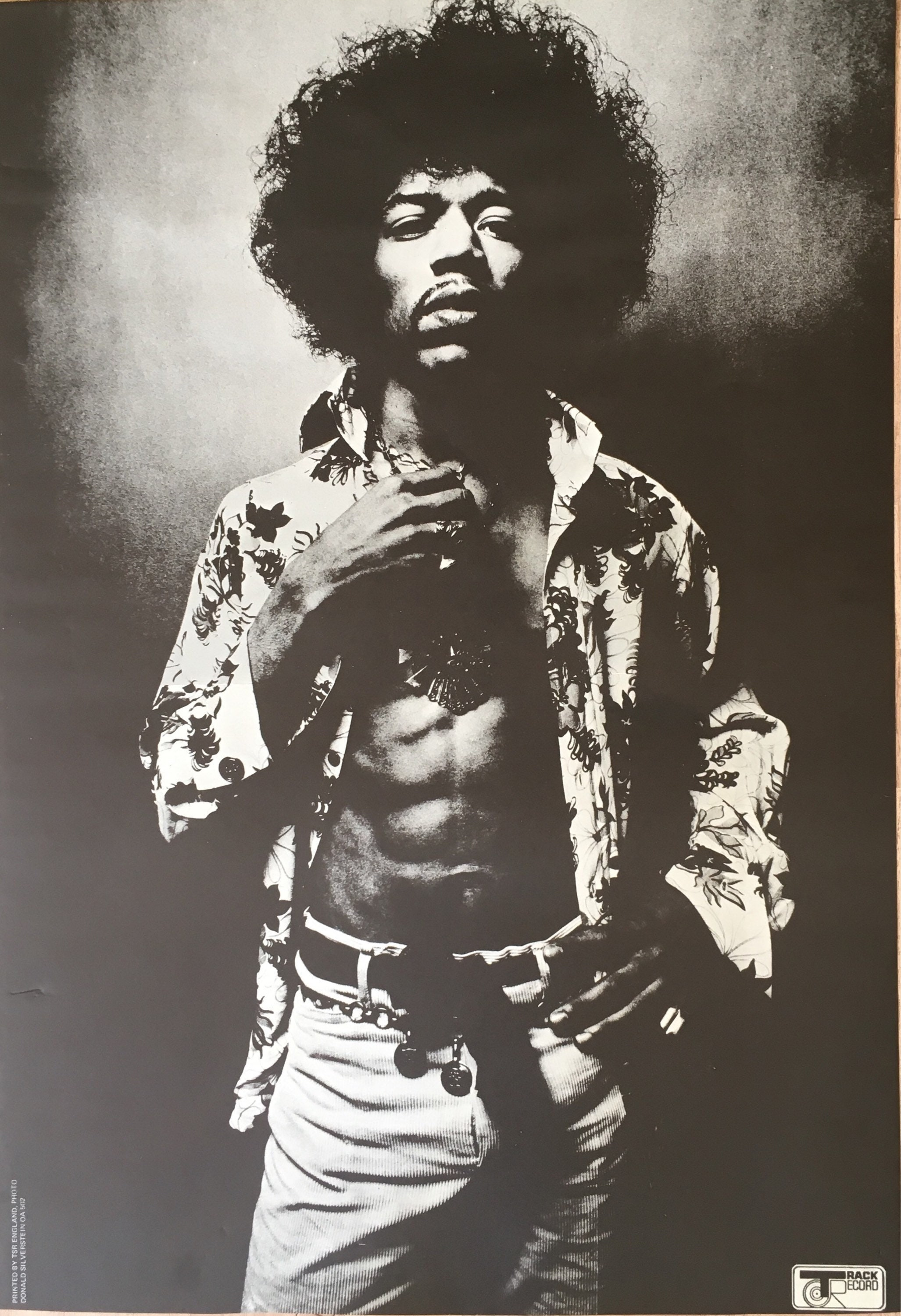 Collectible Jimi Hendrix Poster Rare Authentic Donald Silverstein 1967 Track Record OA502 Printed In England Black And White