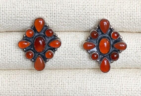 Leo Feeney Designer Earrings Vintage Southwest Style Sterling Silver and Carnelian Cluster Silversmith Signed L Feeney