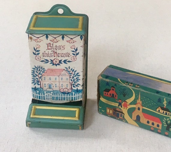 Jasco Match Box Holder with Original Match Box dated 1955 Bless This Home aged Tin Patina Shabby Chic Kitchen Home Decor