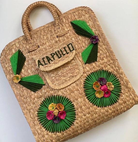 Acapulco Straw Bag Tote Top Handle Purse Retro Vintage Mexico Mexican Vacation Souvenir Embroidered Beach Bag
