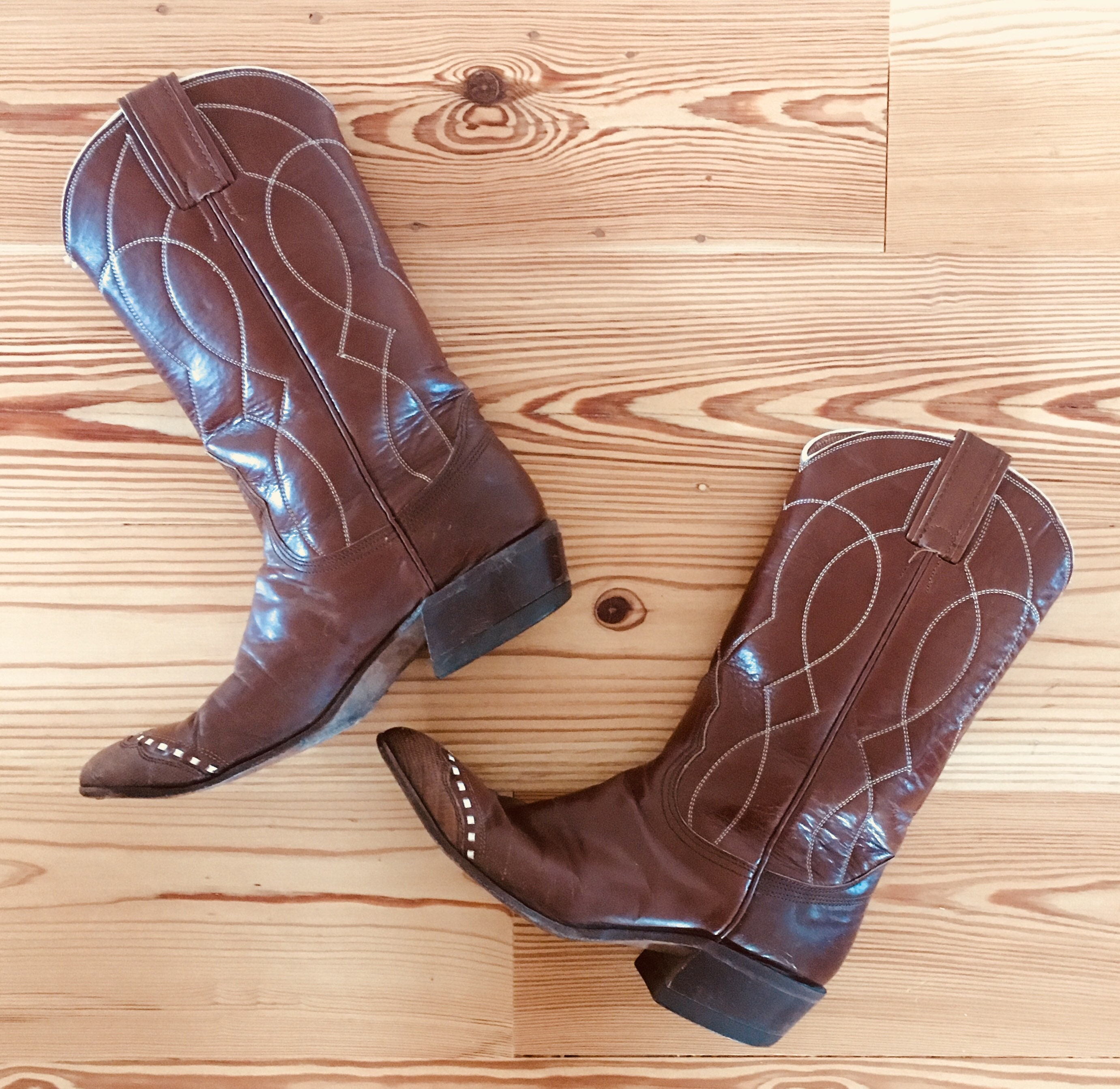 4b411800e12 Kids Cowboy Boots Nocona Texas Cowgirl Vintage Brown White Reptile ...