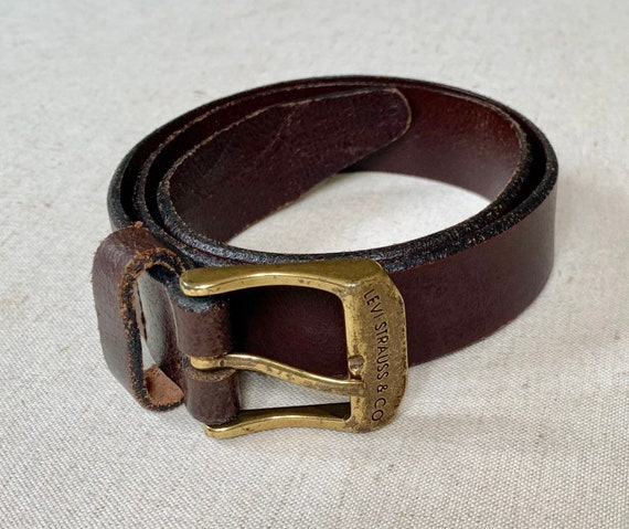 Boys Kids Levi's Belt Vintage Dark Brown Genuine Leather Strap Made in Guatemala Marked Size 22 - 24