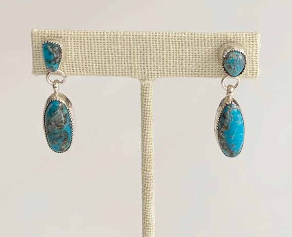 Navajo Turquoise Dangle Earrings Vintage Native American Sterling Silver Long Oval Drop