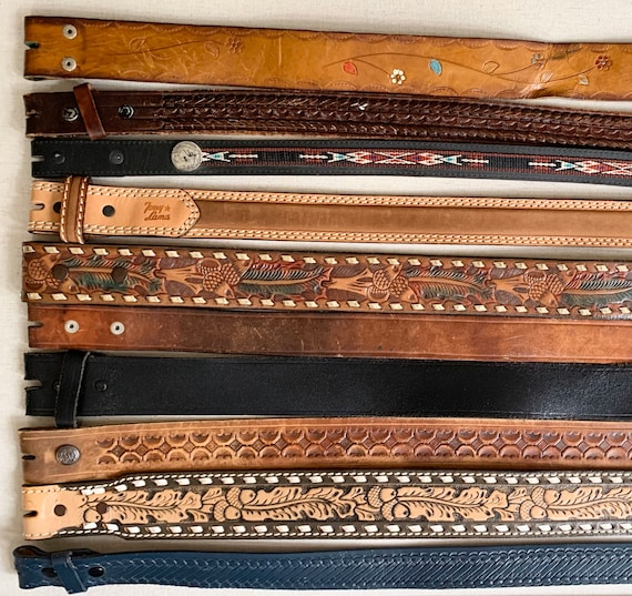 Western Leather Belt Strap Vintage Snap On Detachable Distressed Black Brown Tan Concho Leather Western Rodeo Mens Women's Belts
