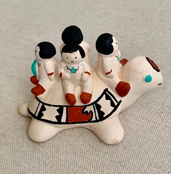 Cleo Teissedre Pottery Storyteller Figurine Vintage 1986 Native American Folk Art Turtle with Four Babies Children Artist Signed