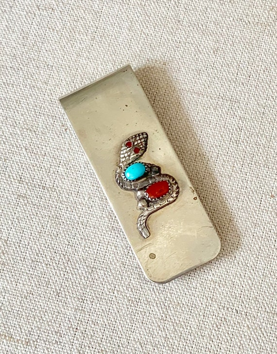 Ray Nieto Money Clip Snake Serpent Vintage Artisan Handmade Silver Turquoise Red Coral