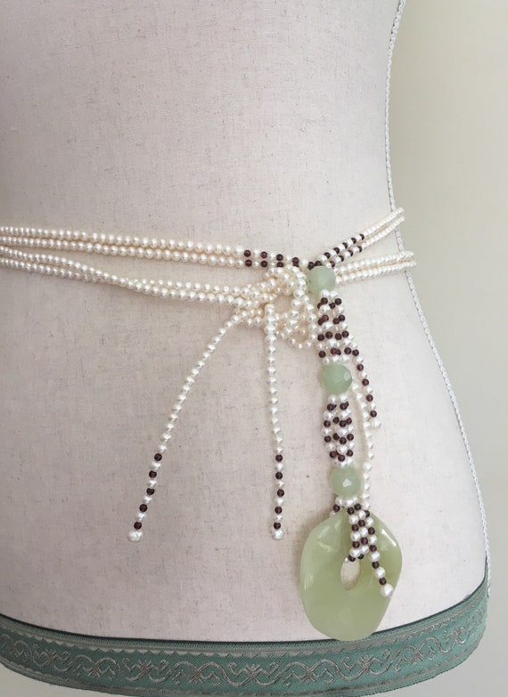 Pearl Tie Waist Belt Vintage Wedding Bridal Accessory Beaded Sash Pearl Beads Classic Wedding