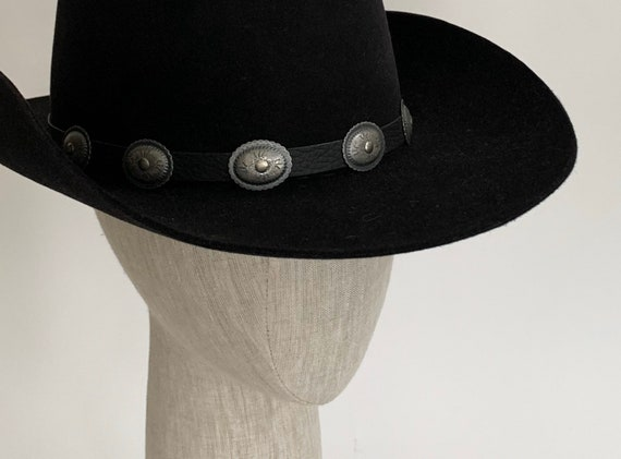 Black Beaver Cowboy Hat Vintage Batsakes Bros Western Concho Hat Band Feather Detail Women's Hats