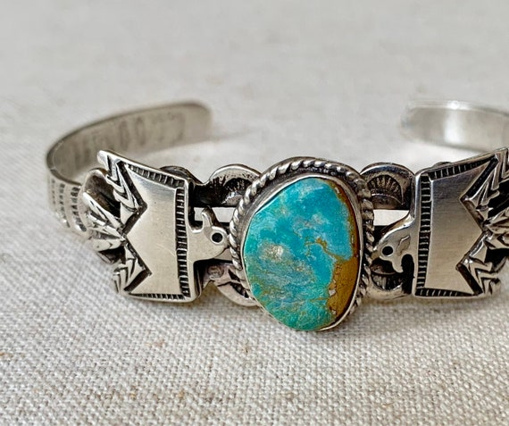 Russell Sam Turquoise Bracelet Cuff Vintage Navajo Hand Stamped Band Thunderbird Band Royston Turquoise Stone Artist Signed