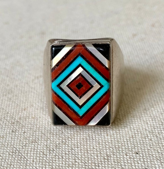 Wide Mens Turquoise Ring Sterling Silver Vintage Native American Rustic Green Turquoise Inlay Antique Rings Size 13