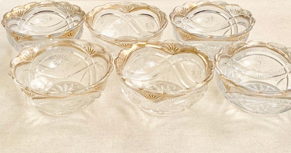 Festive Cut Glass Bowls Dessert Ice Cream Salad Candy Dish Vintage Pressed Glass Faded Gold Rim Lot Set of 6