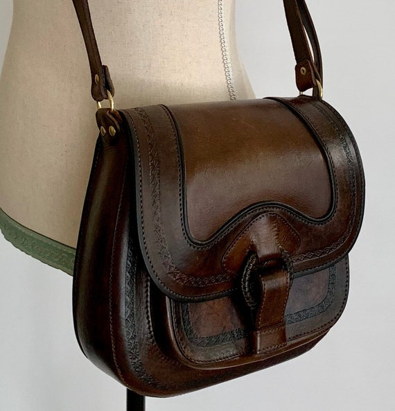 Tooled Leather Purse Bag Saddle Bag Vintage Dark Brown Leather Made in Bolivia Heavy and Solidly Crafted
