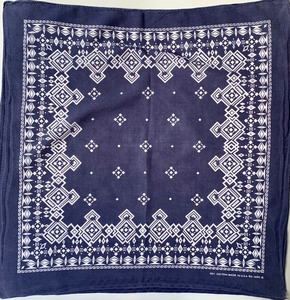 Faded Indigo Bandana Scarf Vintage 70s Dark Navy Blue with Faded Patina Western Cowboy Made in USA All Cotton