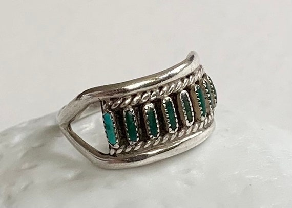 Zuni Needlepoint Turquoise Ring Band Vintage Native American Sterling Silver Stacking Stackable Rings Dainty Delicate Size 7