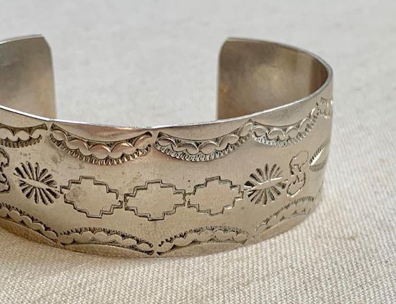 Keith James Sterling Cuff Bracelet Vintage Native American Hand Stamped Sterling Silver Wide Band Artist Signed K