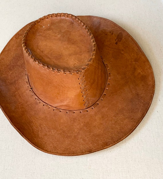 Brown Leather Cowboy Hat Vintage Western Braided Hat Band Distressed Leather Goods Made in Mexico Small Women's Size