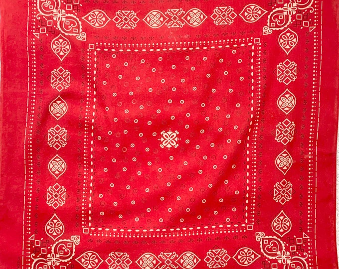 Red Fast Color Bandana Vintage 60s All Cotton Lightweight Weave Red White Black Paisley Dot Circle Print Faded Patina
