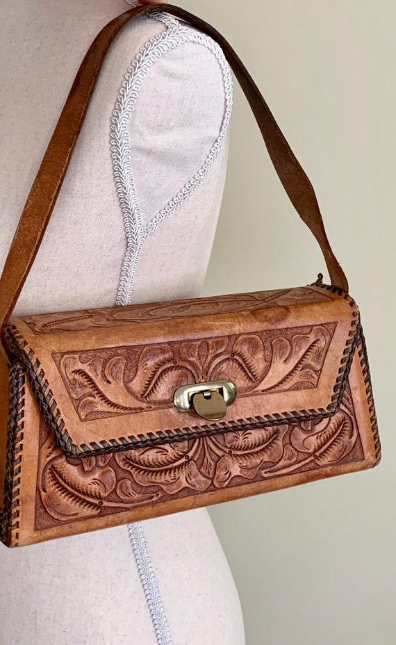 Rectangle Tooled Leather Purse Handbag Vintage 70s Floral Design Stitched Border Long Box Shape