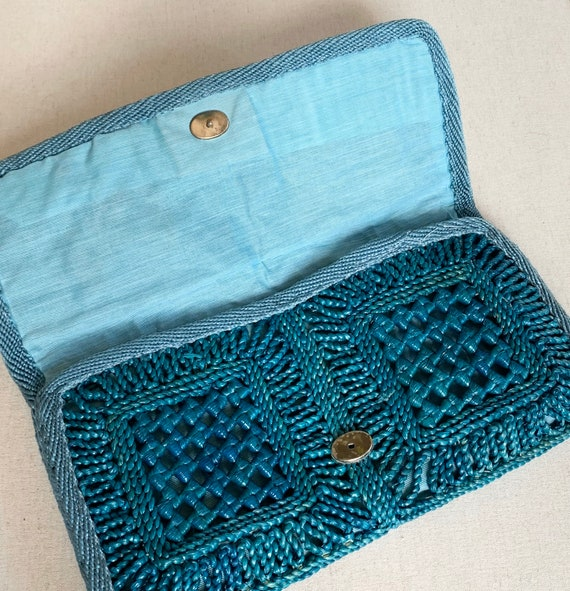 Teal Raffia Clutch Purse Bag Made in Italy Vintage Joske's Department Store Spring Summer Straw Italian