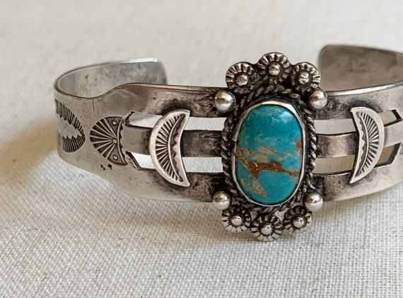 Turquoise Bracelet Cuff Fred Harvey Era Vintage Hand Stamped Ingot Band Band Native American Jewelry