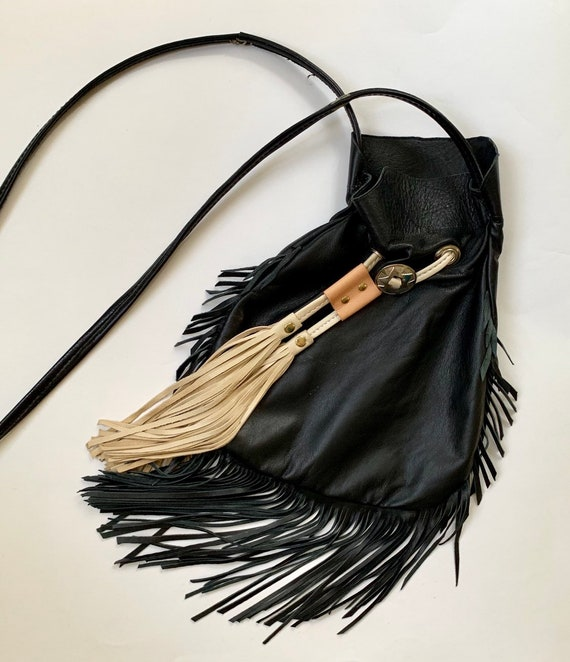 Buttery Soft Deerskin Purse Bag Cross Body Handmade Vintage Drawstring Pouch Black Beige White Leather Fringe Concho
