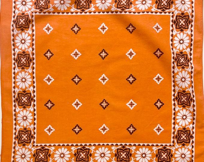 Soft Orange Cotton Bandana Vintage 60s Fast Color White Black Daisy Floral Print Faded All Cotton