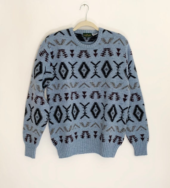 Italian Wool Sweater Heathered Blue Geometric Tribal Weave Made in Italy Vintage Boundary Waters Crew Neck Ski Sweater