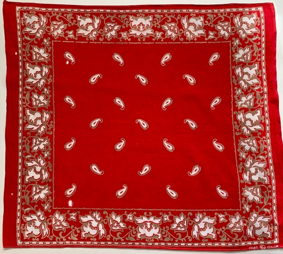 Elephant Trunk Down Bandana Vintage 40s 50s Collectible Fast Color Red Double Selvedge Edge