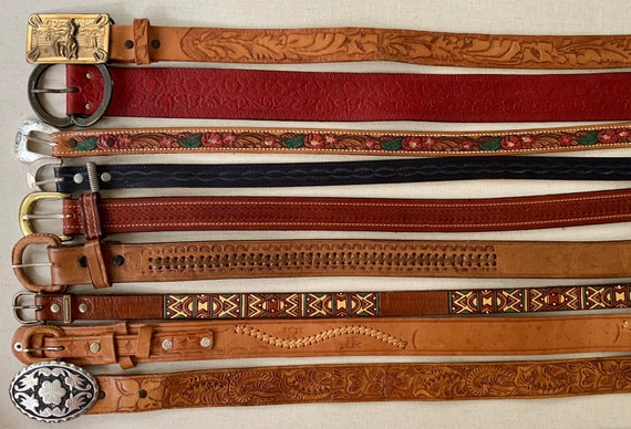 Vintage Tooled Leather Belt Distressed Leather Goods Brown Belt Strap Buckle Western Mens Women's Belts
