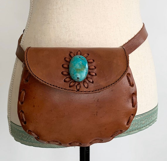 Leather Belt Bag Pouch Western Brown Stitched Leather Fanny Pack Vintage Festival Style Adjustable Waist Turquoise Stone