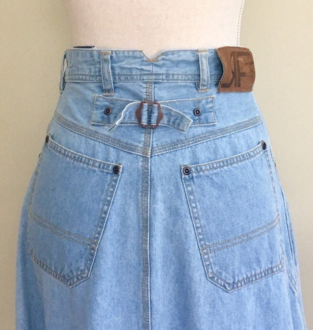 4fc377887f8 Button Fly Denim Skirt Long Floor Ankle Length Maxi Vintage 90s Rafaella  Button Front Faded Blue Jean Size XS