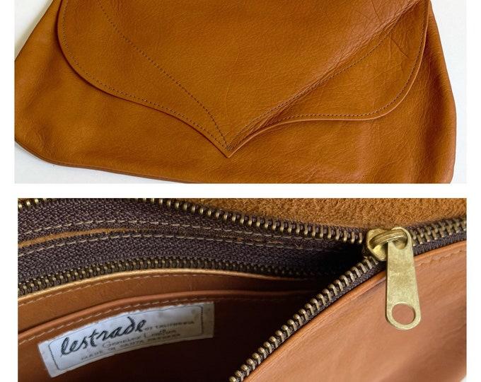 Minimalist Tan Leather Clutch Purse Vintage Lestrade of California Santa Barbara Brass Zip Closure Soft Brown Leather Patina
