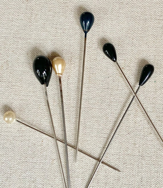 Antique Vintage Hat Pins Lot of 6 Black Pearl Stick Pins Brooch Wedding Bridal Hat Accessories