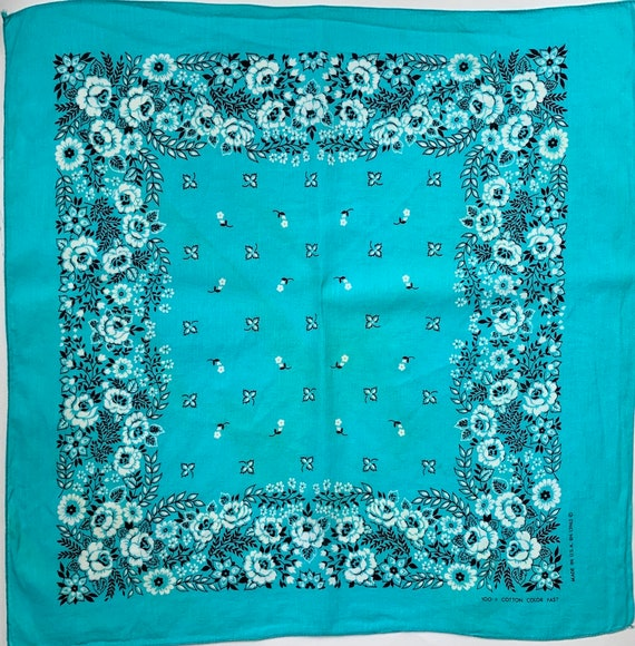 Cotton Turquoise Blue Bandana Vintage Floral Rose Floral Print RN 13962 Cowboy Scarf Made in USA