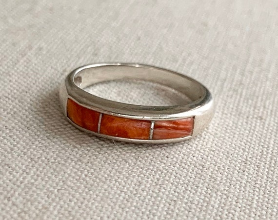 Red Coral Inlay Ring Band Thin Delicate Stackable Rings Vintage Sterling Silver Carolyn Pollack Signed Size 7.5