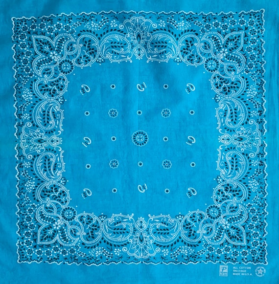 Turquoise Blue Bandana Vintage 80s Paris Accessories Made in USA All Cotton Floral Paisley Print Western Cowboy Scarf