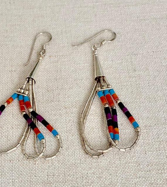 Boho Liquid Silver Earrings Sterling Silver Cones Vintage Native American Hand Beaded Fringe Long Statement Dangle Earrings