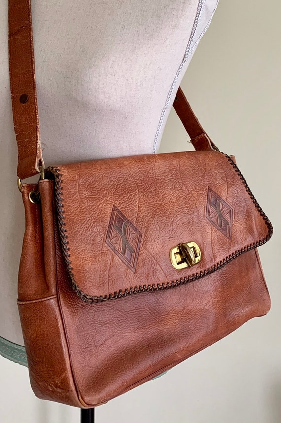 Tooled Leather Messenger Bag Purse Handbag Vintage 70s Meeker Joplin MO Dark Brown Genuine Steerhide Tan Brass Hardware