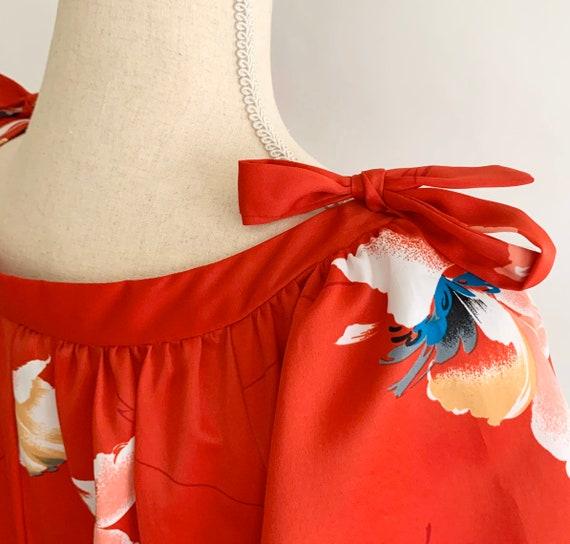 Floral Hawaiian Maxi Dress Muumuu Long Red Tropical Floral Print Flutter Butterly Sleeves Vintage 60s Nani of Hawaii S M