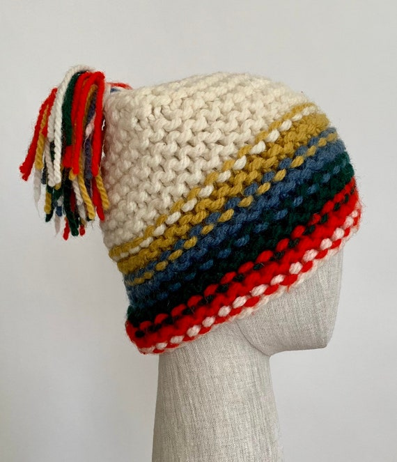 Italian Wool Ski Hat Made in Italy for Lazarus Vintage Natural White Red Blue Mustard Knit Beanie Skull Cap with Pom Pom Winter Hats