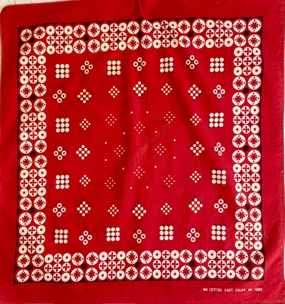 50s Red Bandana Vintage Circle Dot Geometric Print Fast Color Soft and Worn Single Stitched Edge
