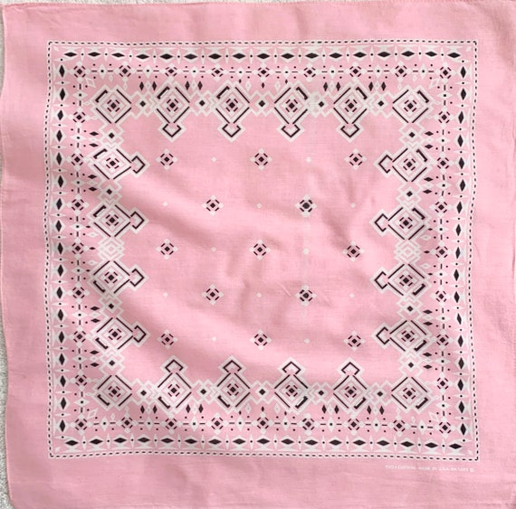 Faded Light Pink Bandana Vintage 70s Geometric Print RN 14193 100% Cotton Made in USA