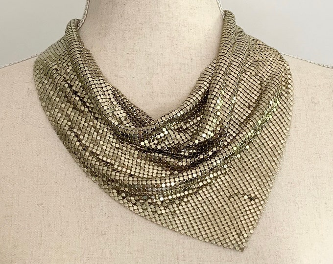 Gold Chain Mail Necklace Scarf Bib Necklace Vintage 80s Heavy Solid Weight Metal Mesh
