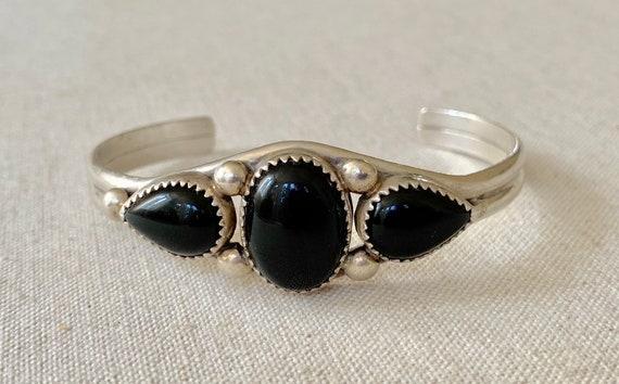 Navajo Black Onyx Bracelet Cuff Vintage Native American Navajo Sterling Silver Teardrop Oval Three Stone Artist Signed PY