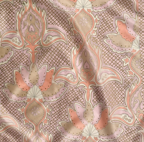 Paisley Silk Scarf Oscar de la Renta for Accessory Street Vintage Designer Carre Square Foulard Made in Japan Pale Pink Beige Metallic